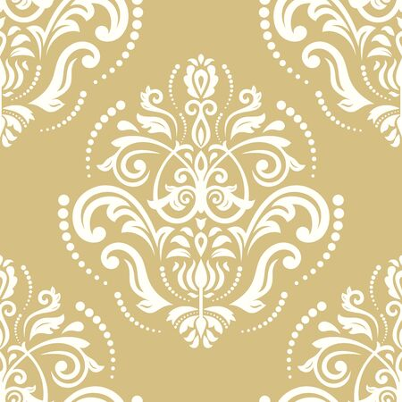 gold leafs: Oriental classic pattern. Seamless abstract background. White and golden wallpaper