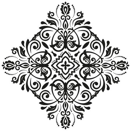 Elegant vector ornament in the style of barogue. Abstract traditional pattern with oriental elements. Black and white pattern