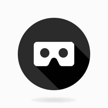 Fine vector icon with vr logo in circle. Flat design with long shadow. Black and white colors