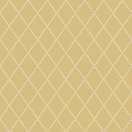 dotted lines: Geometric repeating vector ornament with diagonal dotted lines. Seamless abstract modern background. Golden and white pattern