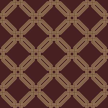 octogonal: Geometric fine abstract vector octagonal background. Seamless modern pattern. Brown and golden pattern