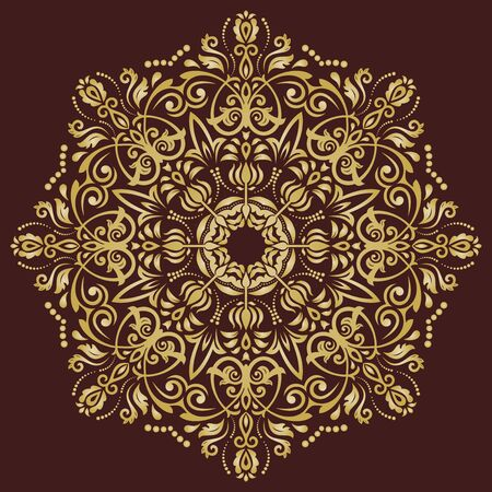 laced: Elegant vector ornament in the style of barogue. Abstract traditional pattern with oriental elements. brown and golden pattern Illustration