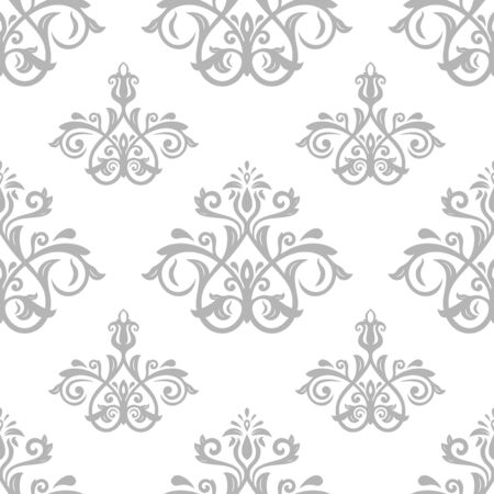 traditional silver wallpaper: Seamless wallpaper in the style of baroque. Traditional silver pattern. Classic oriental background Stock Photo