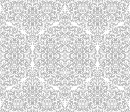 traditional silver wallpaper: Seamless oriental wallpaper in the style of baroque. Traditional classic pattern. Light silver ornament