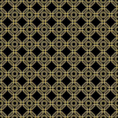 octagonal: Geometric fine abstract vector octagonal background. Seamless modern pattern. Black and golden pattern Illustration