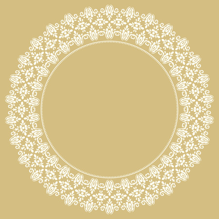 golde: Oriental vector round frame with arabesques and floral elements. Floral fine white border. Greeting card with place for text Illustration