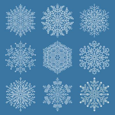 white winter: Set of white snowflakes. Fine winter ornament. Snowflake collection