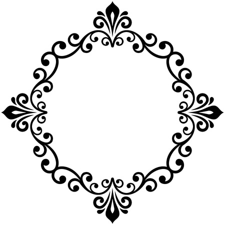 Oriental vector round frame with arabesques and floral elements. Floral fine border. Greeting card with place for text. Black and white pattern