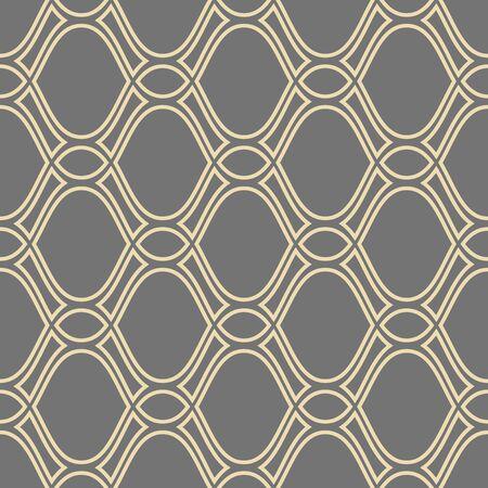 シームレスなベクトル飾り。黄金の波線を繰り返しでモダンな幾何学模様 写真素材 - 58518176