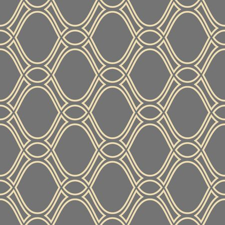 Seamless vector ornament. Modern geometric pattern with repeating golden wavy lines Ilustração