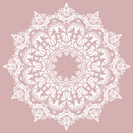 Oriental vector pattern with arabesques and floral elements. Traditional classic ornament. Purple and white pattern Ilustração