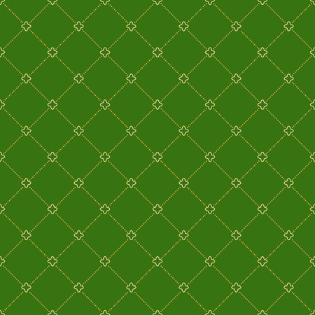 dotted lines: Geometric repeating green ornament with diagonal golden dotted lines. Seamless abstract modern pattern Stock Photo