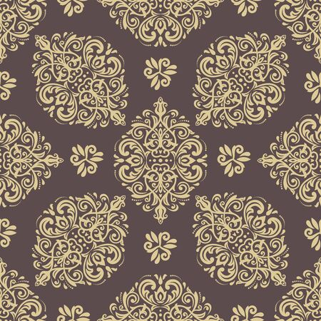 Seamless oriental pattern in the style of baroque. Traditional classic vector ornament. Brown and golden pattern
