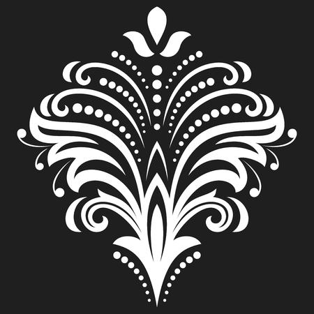 Bloemen vector patroon met fijne arabesken. Abstract oosters ornament. Zwart-wit patroon