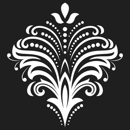Floral vector pattern with fine arabesques. Abstract oriental ornament. Black and white pattern