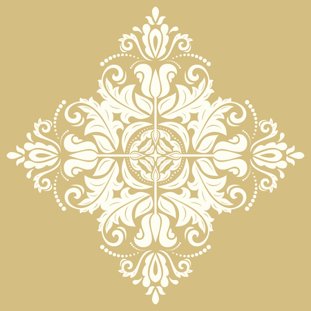 laced: Elegant vector square ornament in the style of barogue. Abstract traditional pattern with oriental elements. Golden and white pattern Illustration