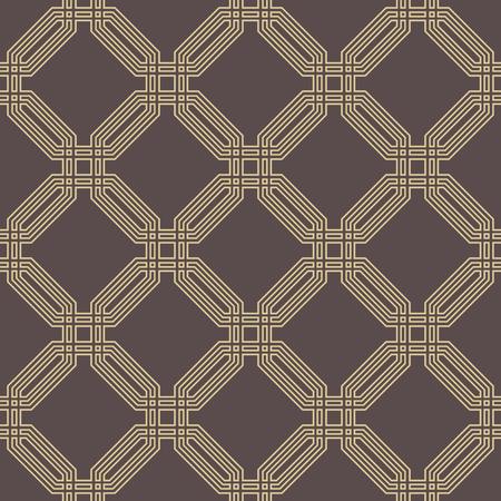 octogonal: Geometric fine abstract octagonal brown and golden background. Seamless modern pattern Foto de archivo