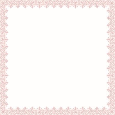 Cadre carré rose classique avec arabesques et éléments orientaux. Résumé ornement fin avec place pour le texte