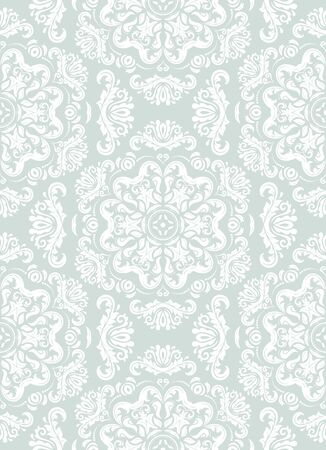 website background: Seamless oriental pattern in the style of baroque. Traditional classic vector ornament. Light blue and white pattern