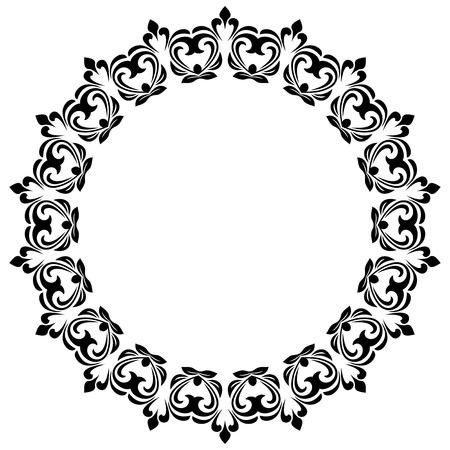 round: Oriental round frame with arabesques and floral elements. Floral fine border. Monogram with place for text