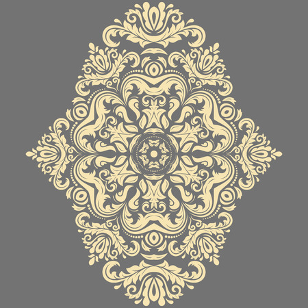 Oriental vector pattern with arabesques and floral elements. Traditional classic ornament. Gray and golden pattern
