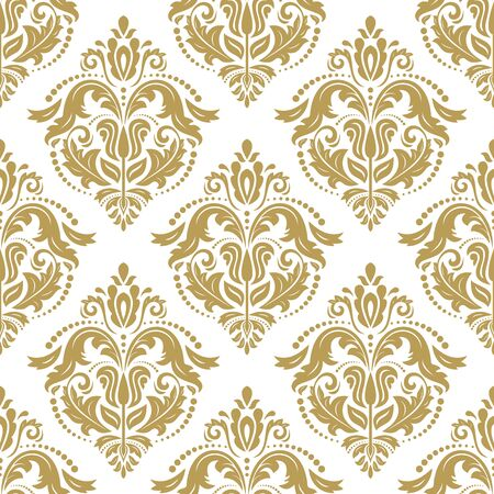 Seamless oriental pattern in the style of baroque. Traditional classic golden vector ornament Illusztráció