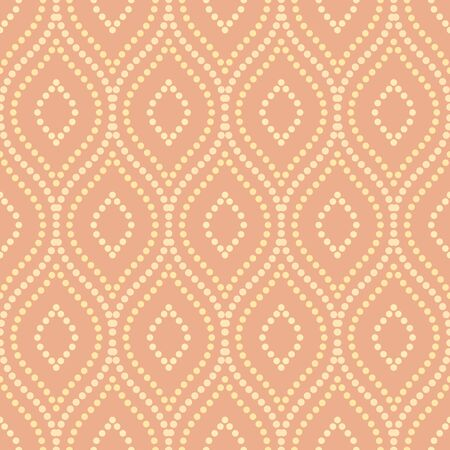 orange color: Oriental colored classic ornament. Seamless abstract background with repeating dotted wavy lines Stock Photo