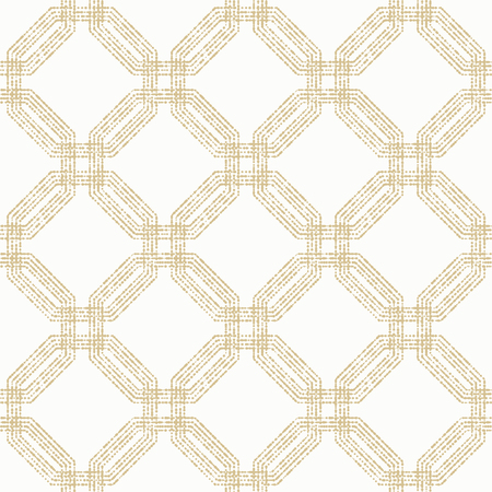 octagonal: Geometric repeating vector ornament with octagonal dotted elements. Seamless abstract modern pattern. Golden and white pattern Illustration