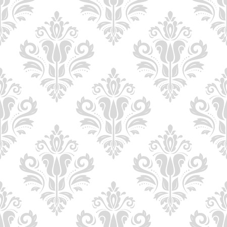 traditional silver wallpaper: Seamless oriental ornament in the style of baroque. Traditional classic pattern. Light silver wallpaper