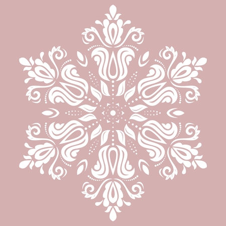 Elegant vector ornament in the style of barogue. Abstract traditional pattern with oriental elements. Purple and white pattern