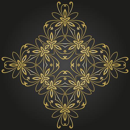 marcos redondos: vector patrón oriental con arabescos y elementos florales. ornamento clásico tradicional. patrón oro y negro Vectores