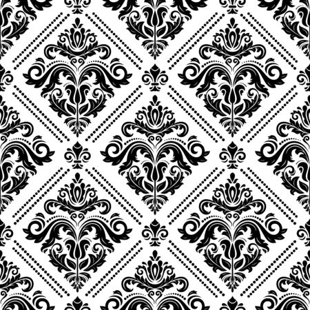 Seamless oriental black and white ornament in the style of baroque. Traditional classic pattern