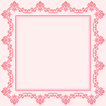 text pink: Classic vector square frame with arabesques and orient elements. Abstract fine ornament with place for text. Pink pattern