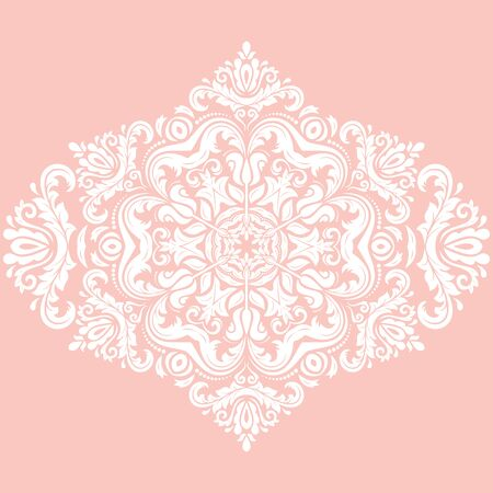 Elegant vector ornament in the style of barogue. Abstract traditional pattern with oriental elements. Pink and white pattern Illustration