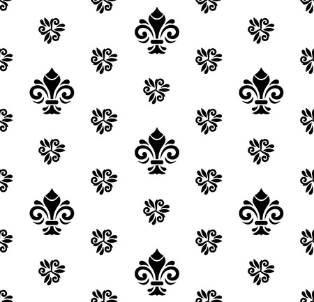 blak and white: Seamless black and white ornament. Modern geometric pattern with royal lilies