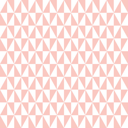 Geometric vector pattern with pink and white triangles. Seamless abstract background