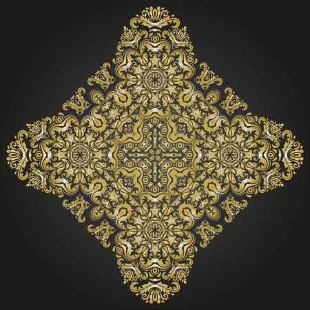 Elegant vector ornament in the style of barogue. Abstract traditional pattern with oriental elements. Black and golden pattern