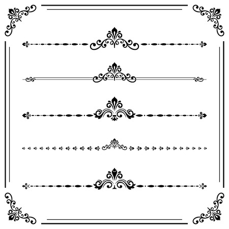 separators: Vintage set of decorative elements. Horizontal separators in the frame. Collection of different black ornaments