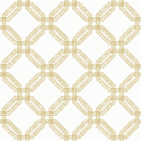 octagonal: Geometric repeating ornament with golden octagonal dotted elements. Seamless abstract modern pattern