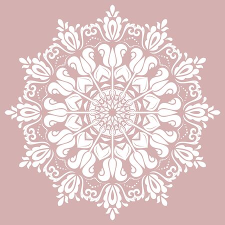 Elegant white ornament in the style of barogue. Abstract traditional pattern with oriental elements Illustration
