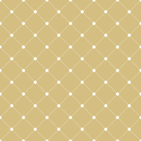 dotted lines: Geometric repeating ornament with diagonal dotted lines. Seamless abstract modern pattern. White and golden pattern
