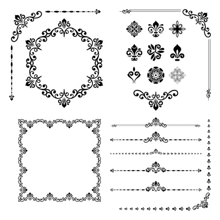 Vintage Set Of Classic Elements. Different Vector Elements For ...