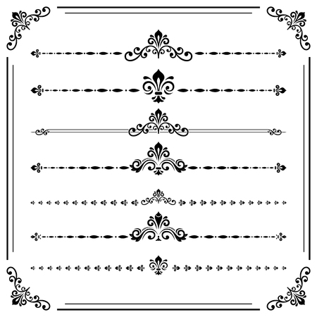 separators: Vintage set of decorative elements. Horizontal separators in the frame. Collection of different ornaments. Black and white colors