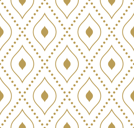 Geometric repeating golden pattern with diagonal dotted lines. Seamless abstract modern pattern