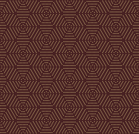 brown pattern: Geometric repeating vector ornament with hexagonal dotted elements. Seamless abstract modern pattern. Brown and golden pattern Illustration