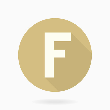 friend  nobody: Fine vector letter F in the circle. Flat design and long shadow. Golden and white colors