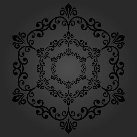 laced: Elegant vector dark round ornament in the style of barogue. Abstract traditional pattern with oriental elements Illustration