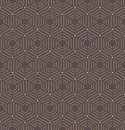 golde: Geometric repeating vector ornament with hexagonal dotted elements. Seamless abstract modern pattern. Brown and golden pattern Illustration