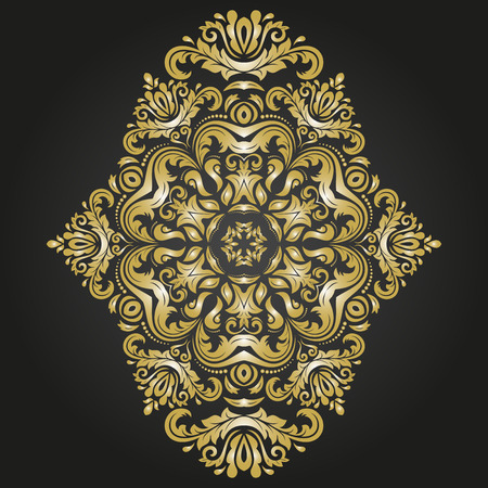 Oriental vector black and golden pattern with arabesques and floral elements. Traditional classic ornament Illustration
