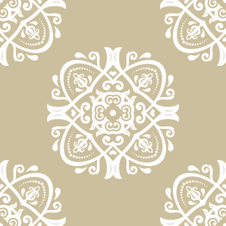 orient: Seamless damask vector golden pattern. Traditional classic orient ornament